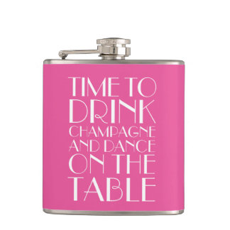 Art Deco Time to Drink Champagne Pink Flask