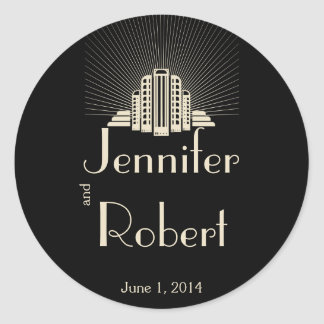 Art Deco Tower Ray on Black Ivory Envelope Seal Classic Round Sticker