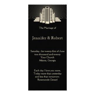 Art Deco Tower Ray Wedding Program Custom Rack Card