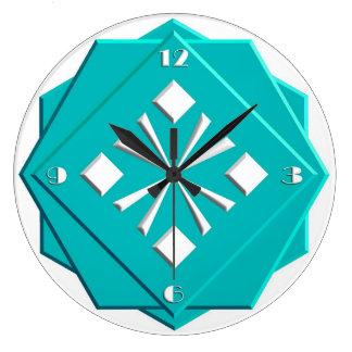 Art Deco turquoise blue geometric pattern Large Clock