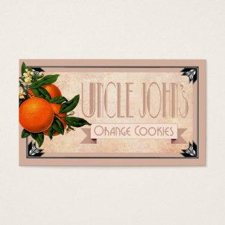 Art Deco Uncle John's orange cookies favor | blush Business Card