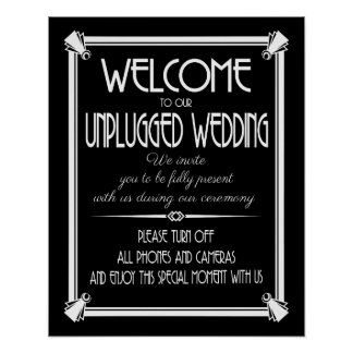 Art Deco unplugged wedding GATSBY print