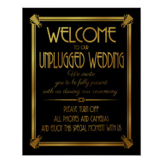 Art Deco unplugged wedding GATSBY print GOLD