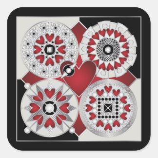 Art Deco Valentine 01 Square Stickers