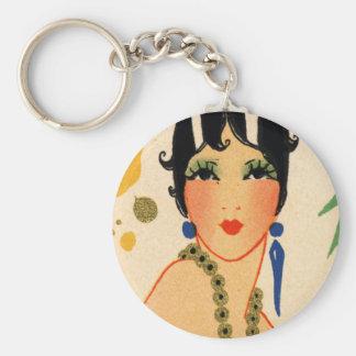 Art Deco Vamp, 1920s Flapper Basic Round Button Keychain