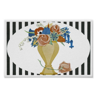 Art Deco Vase of Flowers Poster
