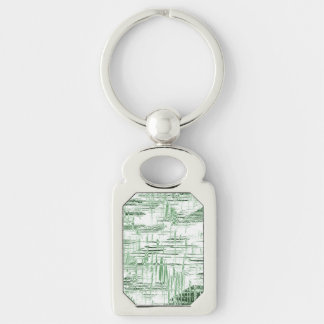 Art déco verde llavero plateado rectangular