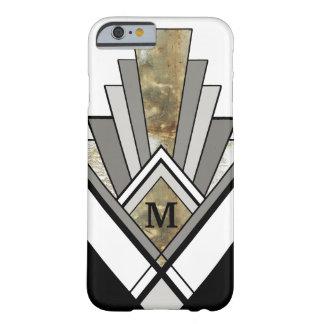 Art déco veteado geométrico con el monograma de funda barely there iPhone 6
