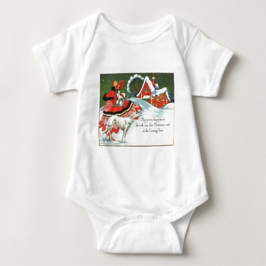 Art Deco Victorian Style Christmas Greeting Baby Bodysuit