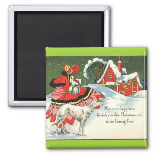 Art Deco Victorian Style Christmas Greeting Magnets