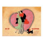 Art Deco ~ Vintage Be My Valentine Postcard