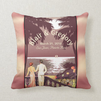 Art Deco Vintage Beach   blush pink Throw Pillow