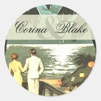 Art Deco Vintage Beach Classic Round Sticker