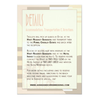 "Art Deco Vintage Beach Details Info | blush 4.5"" X 6.25"" Invitation Card"