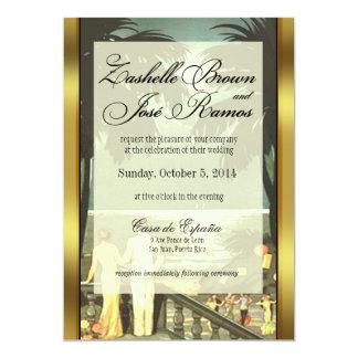 Art Deco Vintage Beach Faux Vellum Wedding 5x7 Paper Invitation Card