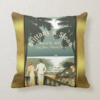 Art Deco Vintage Beach | mint gold Throw Pillows