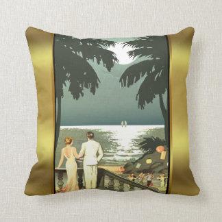 Art Deco Vintage Beach   mint gold Pillows