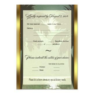 Art Deco Vintage Beach RSVP Faux Vellum 4.5x6.25 Paper Invitation Card