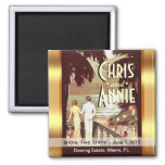 Art Deco Vintage Beach save the date favor 2 Inch Square Magnet