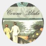 Art Deco Vintage Beach Sticker
