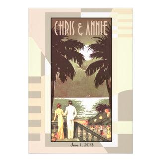 Art Deco Vintage Beach Wedding blush Personalized Invitations