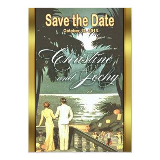 Art Deco Vintage Beach Wedding Card