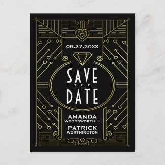 Art Deco Vintage Black Wedding Save The Date Cards