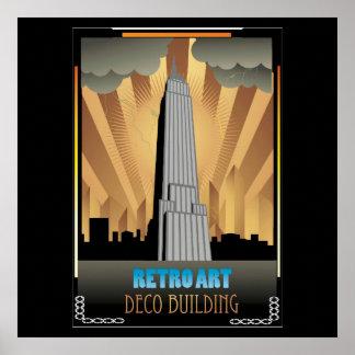 art déco, vintage, bulding, ciudad, de moda, póster