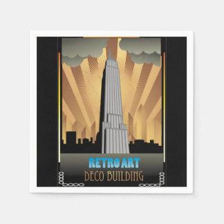 art déco, vintage, bulding, ciudad, de moda, servilleta de papel
