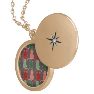 Art deco,vintage,cat pattern,art nouveau,trendy,mo round locket necklace
