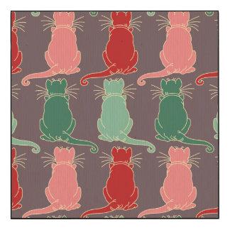 Art deco,vintage,cat pattern,art nouveau,trendy,mo wood print