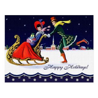 Art Deco Vintage Design Christmas Postcards