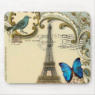 Art Deco vintage Eiffel Tower butterfly Paris Mouse Pad