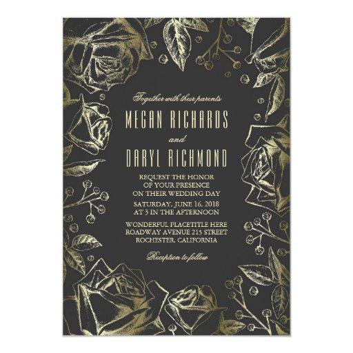 Art Deco Vintage Floral Black and Gold Wedding Card