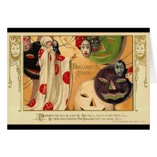 Art Deco - Vintage Halloween Faces Greeting Cards