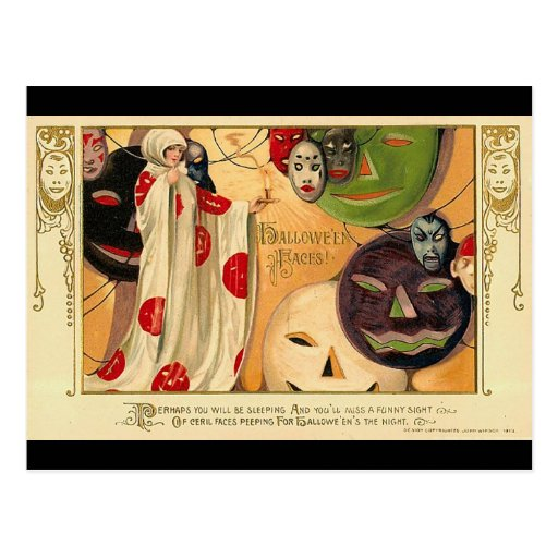 Art Deco - Vintage Halloween Faces Post Cards