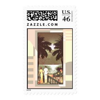Art Deco Vintage Miami Beach blush Stamp