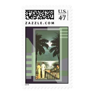 Art Deco Vintage Miami Beach Postage Stamp