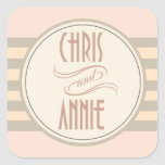 Art Deco Vintage Names | blush Square Stickers