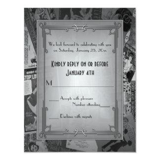 Art Deco Vintage Posters Wedding RSVP Invitation