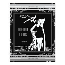 ART DECO Vintage Retro Black White Birthday Party Card