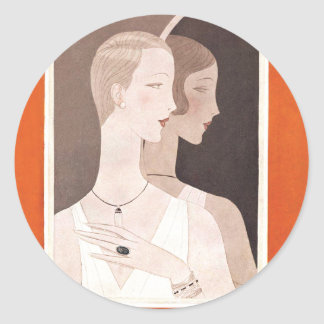 Art Deco Vogue Paris Brides 1926 Classic Round Sticker
