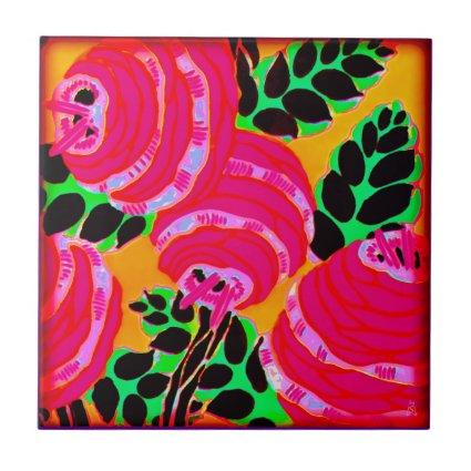 Art Deco Wallflowers - Hot Pink+ Ceramic Tiles