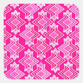 Art Deco Wallpaper Pattern, Fuchsia Pink Square Sticker
