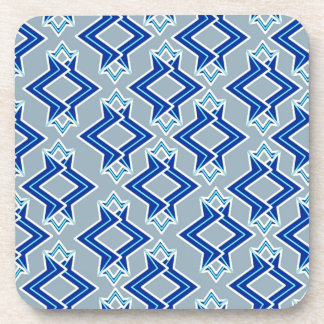 Art Deco Wallpaper Pattern, Gray / Grey and Blue Beverage Coaster