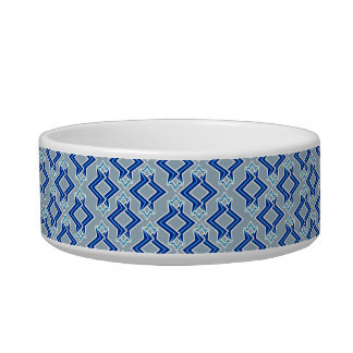 Art Deco Wallpaper Pattern, Gray / Grey and Blue Bowl