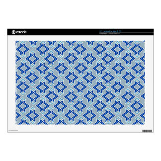 """Art Deco Wallpaper Pattern, Gray / Grey and Blue Decals For 17"""" Laptops"""