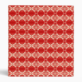 Art Deco wallpaper pattern - red and white 3 Ring Binder