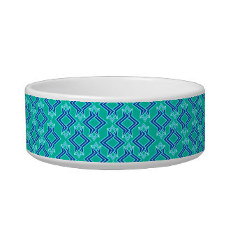 Art Deco Wallpaper Pattern, Turquoise and Cobalt Bowl