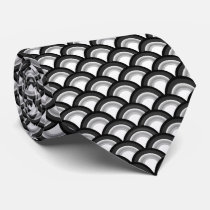 Art Deco wave pattern - black and white Tie